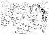 African animals in the jungle in black and white. Cartoon vector illustration.