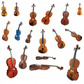 violins and a fiddlestick under the white background