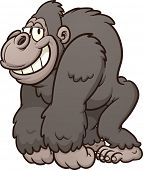 stock photo of gorilla  - Strong cartoon gorilla - JPG