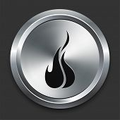 Fire Icon on Metallic Button Collection