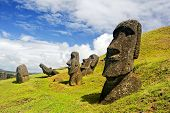 CHILE -FEBRUARY 6: Moais in Rapa Nui National Park on the slopes of Rano Raruku volcano on Easter Is