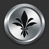 Fleur De Lis Icon on Metallic Button Collection