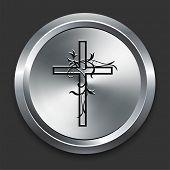Cross Icon on Metallic Button Collection