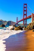 San Francisco Golden Gate Bridge GGB from Marshall beach in California USA
