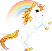 picture of unicorn  - An a vector illustration of rearing up unicorn - JPG