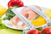 image of salmon steak  - Dietting weight loss concept - JPG