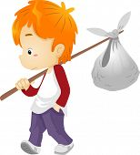 foto of runaway  - Illustration of a Runaway Boy Carrying a Bindle - JPG