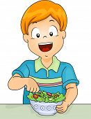 Illustration of a Little Boy Digging in a Salad Bowl