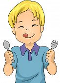 Illustration of a Little Boy Holding a Spoon and Fork Eagerly Awaiting Dinner