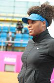KHARKOV, UKRAINE - APRIL 21, 2012: Serena Williams before the match with Elina Svitolina during Fed Cup tie between USA and Ukraine in Superior Golf and Spa Resort, Kharkov, Ukraine