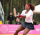 KHARKOV, UKRAINE - APRIL 22, 2012: Serena Williams in the match with Lesia Tsurenko during Fed Cup t