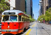 SAN FRANCISCO - APRIL 20, 2031: F Market & Wharves F line is a vintage heritage streetcar service operated by Market Street Railway in Market street San Francisco, California on April 20, 2013.