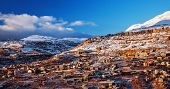 Beautiful landscape of mountainous town in winter, many cozy cottage, eco tourism, Faraya mountain i