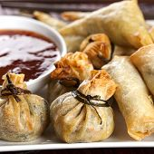 Fried wontons with sweet chili dipping sauce.