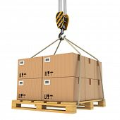 Cargo delivery. Pallet with cardboard lifted by crane. 3d
