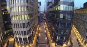 MOSCOW, RUSSIA - NOV 02, 2013: (view from unmanned quadrocopter) White Square Office Center at eveni