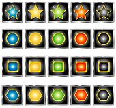 Set of colored buttons, vector