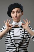 stock photo of french beret  - french style portrait of young woman - JPG