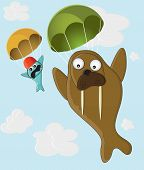 Walrus and fish with a parachute