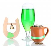 Traditional symbols of St Patricks day isolated on white
