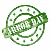 Green Weathered Arbor Day Stamp Circles And Trees