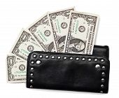 Black purse and dollars on white