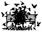Editable vector silhouettes of a man on a bench smothered by pigeons with all birds as separate obje