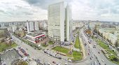 Preobrazhenskaya square at dull day in Moscow, Russia. View from unmanned quadrocopter