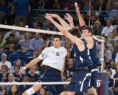 IRVINE, CA - JANUARY 17: The Brigham Young University men's volleyball team competes with the Univer