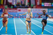 GOTHENBURG, SWEDEN - MARCH 3 Mariya Ryemyen (Bulgaria) places seond in the women's 60m finals during