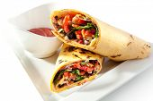 stock photo of bread rolls  - Burrito with Vegetables - JPG