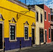 Colorful building on mexican street