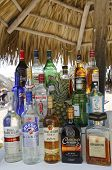Local and International drinks at the beach bar at the Now Larimar All-inclusive Hotel in Punta Cana