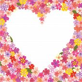 Floral heart-shaped frame