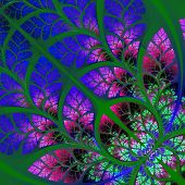 Multicolor Fabulous Fractal Pattern. Collectiont - Tree Foliage. Computer Generated Graphics.