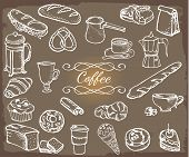 Coffee Related Sketchy Objects Set