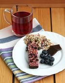 Muesli Snack Bar, Blueberries And Berry Tea
