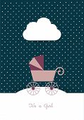 New born invitation vintage card template. Retro buggy concept. Vector illustration.