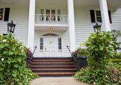 Brick Steps To White Columns
