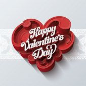 Valentines day greeting card vector design template. Vintage lettering on heart shape of swirls. Ret
