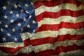pic of democracy  - Closeup of grunge American flag - JPG