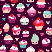 picture of kawaii  - Seamless happy cupcake birthday party illustration background pattern in vector - JPG