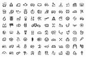 vector black auto icons set