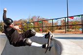 Veteran Skateboarder Grinds The Big Bowl At New Skateboard Park