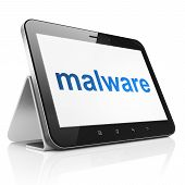 Safety concept: Malware on tablet pc computer