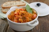 Bigos, the traditional Polish stew of cabbage and meat