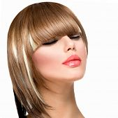 Beautiful Fashion Woman Hairstyle for Short Hair. Fringe Haircut. Beauty Model Girl portrait with ha
