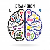 image of right brain  - Creative left and right brain Idea concept background design - JPG