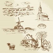 romantic landscape, farm - hand drawn illustration