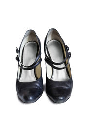 picture of mary jane  - Leather black Mary Jane shoes on white background - JPG